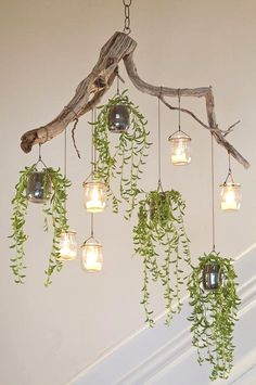 The found materials and small trailing succulents … – Container Gardening - wood work diy Backyard Lighting, Rustic Lighting, Lighting Ideas, Outdoor Lighting, Diy Luz, Driftwood Chandelier, Industrial Chandelier, Diy Chandelier, Outdoor Chandelier