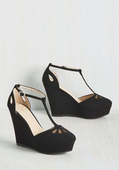 Daring Dynamo Wedge in Black. Go bold or go home is your motto, so buckle into these platform wedges and hit the town! #black #modcloth
