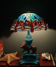 Stained Glass Lamp SHADE Vintage Blue Aqua Turquoise
