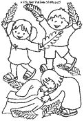 Triumphal entry coloring book picture of children waving palm brnches and laying down clothes to make a path for Jesus and the donkey as he enters Jerusalem.