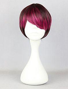Zipper Short Wine Red Highlights 28cm Oji Lolita Wig