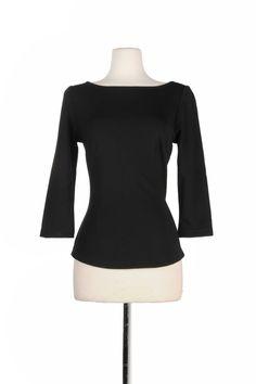 Laura Byrnes California Sabrina Top in Black