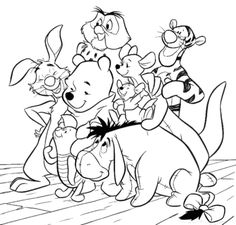 Friends And Winnie The Pooh Coloring Pages