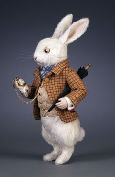 """*R. JOHN WRIGHT COLLECTIBLE DOLLS ~ The White Rabbit 13"""" inches, Mohair plush and molded felt hands with individual fingers. Fully jointed. Leather covered eyes and hand embroidered features. LE/500  $675"""
