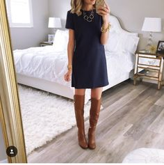 Take a look at 15 ways to wear a navy dress outfit and what accessories to choose in the photos below and get ideas for your own amazing outfits! A scalloped navy shift dress styled for an all day look with… Continue Reading → Looks Chic, Looks Style, My Style, How To Style, Simple Style, Navy Dress Outfits, Navy Dress With Boots, Navy Dress Shoes, Brown Boots Outfit