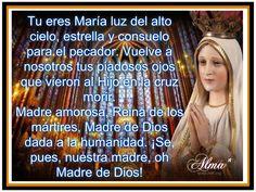 Tu eres María luz del alto cielo, estrella y consuelo para el pecador. Vuelve a nosotros tus piadosos ojos  que vieron al Hijo en la cruz morir. Madre amorosa, Reina de los mártires, Madre de Dios dada a la humanidad. ¡Se, pues, nuestra madre, oh Madre de Dios!