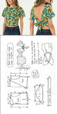 Upcycle Ropa Costura Diy Up … – IDEAS DE UPCYCLING - Das ist meine Nachbarschaft Blouse Patterns, Clothing Patterns, Blouse Designs, Blouse Styles, Dress Sewing Patterns, Fashion Sewing, Diy Fashion, Fashion Ideas, Dress Patterns