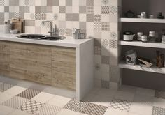 Let Tile Giant help transform the most sociable room in your house with our huge range of kitchen tiles. Featuring smart bevelled tiles to stylish splashbacks Kitchen Wall Tiles, Retro Chic, Double Vanity, Vintage Inspired, New Homes, House, Inspiration, Furniture, Design