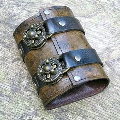 Leather Steampunk Credit Card Wristband Wallet by sewlutionsbyamo