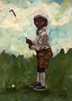 "You have to get them to embrace the game at a young age. This image by Andrew Nichols is titled ""Lil' Golfer"" and was inspired by that message. A beautiful piece of African American artwork with a golf theme."