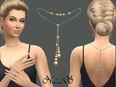 Back drop metal beads necklace by NataliS at TSR via Sims 4 Updates
