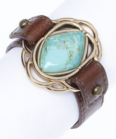 Look what I found on #zulily! Turquoise & Bronze Leather Bracelet by Barse #zulilyfinds