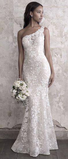 Madison James Wedding Dresses - one shoulder wedding gown #weddingdress #weddinggown #bride #bridalgown