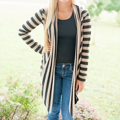 Black & Taupe Open Stripe Cardigan