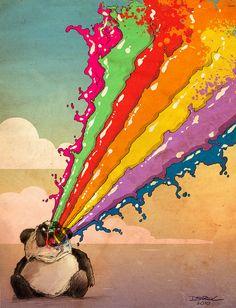 Perturbed Rainbow Vomiting Panda /via straup