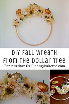 DIY Fall Wreath from the Dollar Tree - Less than $7 from LindsayBakerCo