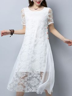 Fashionmia - Fashionmia Round Neck Hollow Out Solid Loose Maxi Dress In White - AdoreWe.com