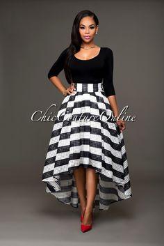Frederica Black White Plaid Organza High-Low Skirt