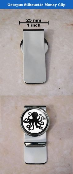 Octopus Silhouette Money Clip. Welcome Up for sale is this beautiful money clip. The metal portion is composed of brass and weighs approximately 17 grams.Central Round Image: 25 mm in diameter, (approximately 1 inch). The rectangular clip portion is 55 mm in length and 22 mm wide The setting encompasses a high resolution image that has been printed with a printer specifically made for printing high resolution images. The image is sealed with a high quality resin to ensure vibrancy and...