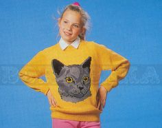vintage Adult and Childs CAT jumper knitting pattern by borisbeka, $4.00