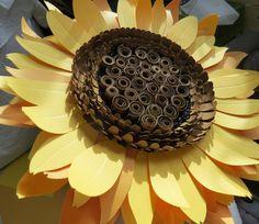 Giant paper sunflower wall art - floral decor - paper sculpture - Flower Taxidermy No.77