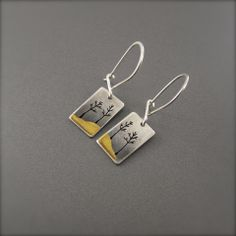 Small 24K Yellow Gold and Silver Landscape Tree Earrings – Beth Millner Jewelry