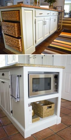 Add a built-in shelf to the end of your kitchen island that used as microwave or woven baskets storage kitchen furniture 20 Genius Ideas for Using Wasted Space on Kitchen Ends Of Cabinet Kitchen Island Storage, Kitchen Pantry, Kitchen Cabinets, Kitchen Island Microwave, Kitchen Island Makeover, Pantry Makeover, Cheap Kitchen, Cabinet Makeover, Kitchen Organization
