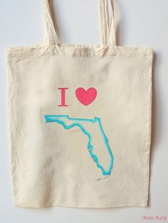 Florida State Love Canvas Bag Wedding Welcome Tote Turquoise and Pink