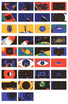 TED-Ed – How Small We Are in the Scale of the Universe? on Behance Graphic Design Posters, Graphic Design Illustration, Digital Illustration, Storyboard, Color Script, Motion Design, Character Illustration, Experiment, Illustrations Posters