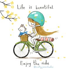 "Our anthem for Saturday's RHYDE at with the Veester is appreciating LIFE. ""Life is beautiful."" Reserve your bike on the app and love life and live your life to the fullest with me! with ・・・ 💛cycling to yoga class💛 Yoga Illustration, Illustration Artists, Yoga Kunst, Yoga Cartoon, Cycle Painting, Citations Yoga, Keep Life Simple, Yoga Art, Illustrators On Instagram"