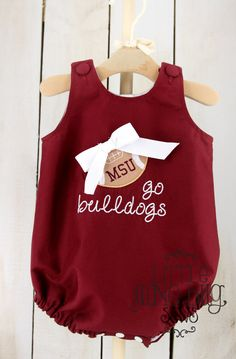 Mississippi State Baby Bubble Romper Girly by littlejunebugsews