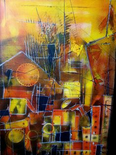 Original Abstract city orange, black & yellow FREE SHIPPING by AbstractArtDesigns on Etsy