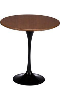Poly and Bark Eero Saarinen Tulip Style Walnut Top Side Table, 20-Inch, Black Base Best Price