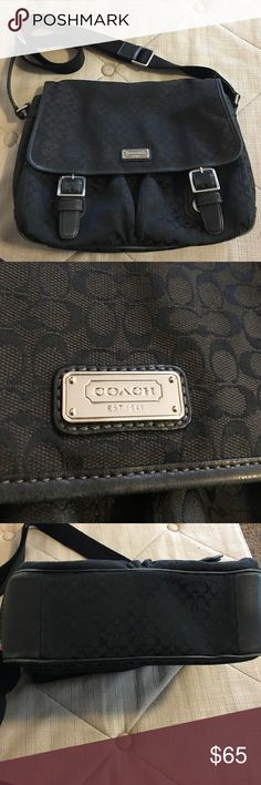 Authentic Coach Purse Gently used. The interior is shown in pictures in great condition. It is in great condition. The only signs of use are on the bottom in the picture. The leather is slightly worn on the bottom and there is one area on the strap that is snagged. Because of that I have discounted it greatly. Coach Bags Crossbody Bags