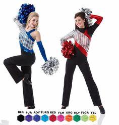 REACH Unitard Jumpsuit w/Mitt Cheer Baton Skate Dance Costume Adult & Child Size