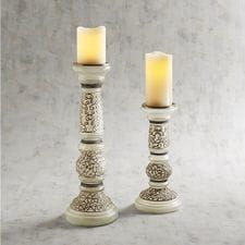 Painted Glass Pillar Candle Holders