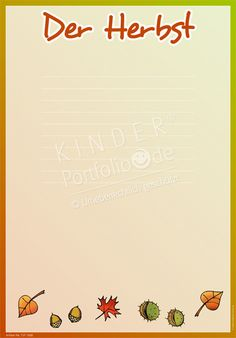 """Kindergarten Portfolio Vorlage """"Der Herbst"""""""