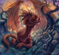 A wise dragon with a friendly demeanour
