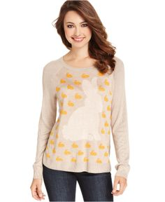 Kensie Sweaters, Long-Sleeve High-Neck Bunny-Print - Sweaters - Women - Macy's