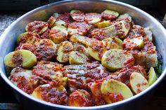 Bakaliaro Plaki (Cod fish baked with potatos, onions, garlic and tomato sauce) - Μπακαλιάρος πλακί