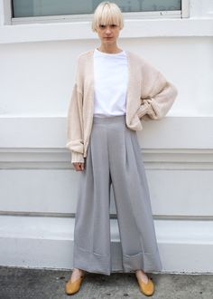 "#newarrivals #ilyi #grey #stripe #seersucker #wideleg #cuffed #pants #thefrankieshop #frankienyc #frankiegirl Seersucker Fabric, Pleated Front Pant w/Wide, Cuffed Hem. Side Zip Closure at Elastic Waist. No Pockets 60% Cotton, 36% Poly, 4% Spandex 40.5"" Length, 24""-27"" Waist w/Stretch Dry Clean By Ilyi. Imported"