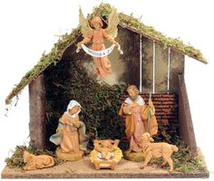 "6pc FontaniniTM Nativity Figure Set and Stable  Made in Italy. 6 figure 5"" Fontanini figure set with Italian wood stable. Heirloom design, hand painted polyresin figures are virtually indestructible. Baby Jesus is removable from crib. (Item #28550) $119.95  SALE! NOW $99.95  While Supplies Last or thru 12-24-12"