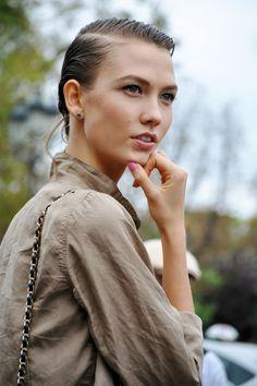 Paris Fashion Week: Love the purse strap and shirt.  Stud earrings.