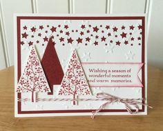 Stampin Up cartolina di Natale fatti a mano - alberi di Natale rosso con le stelle