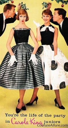 Holiday party fashions from Carole King Juniors, 1957. Black and white goes well with mistletoe impishness.