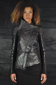 Alessandra Marchi – Zip Up High Neck Leather Jacket   -PNP, fashion stores in Florence   -PNP, fashion stores in Florence