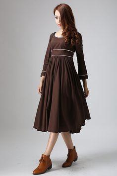 vestido largo de lino, vestido maxi, vestido marrón, vestido de lino, vestido de talle alto, imperio cintura vestido, ropa de lino, ropa Mod, ideas regalo 808