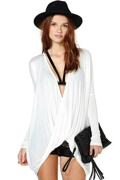 Twist Drape shirt blouse top wrap oversize batwing plunge loose cross over cut