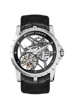 ROGER DUBUIS  Thanks to a fully skeletonized dial, you can at the Excalibur Skeleton Tourbillon 42
