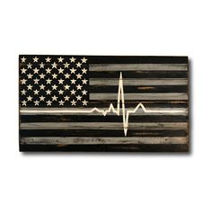 This EMS / EMT / Paramedic Flag is hand painted on reclaimed wood. This wood flag can be personalized with your paramedics badge number, name or a combination of the two. If you choose to have this sign personalized, it will be done in white on the bottom black line. This Thin White